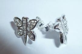 Zilveren oorstekers vlinder met zirkonen | 0074