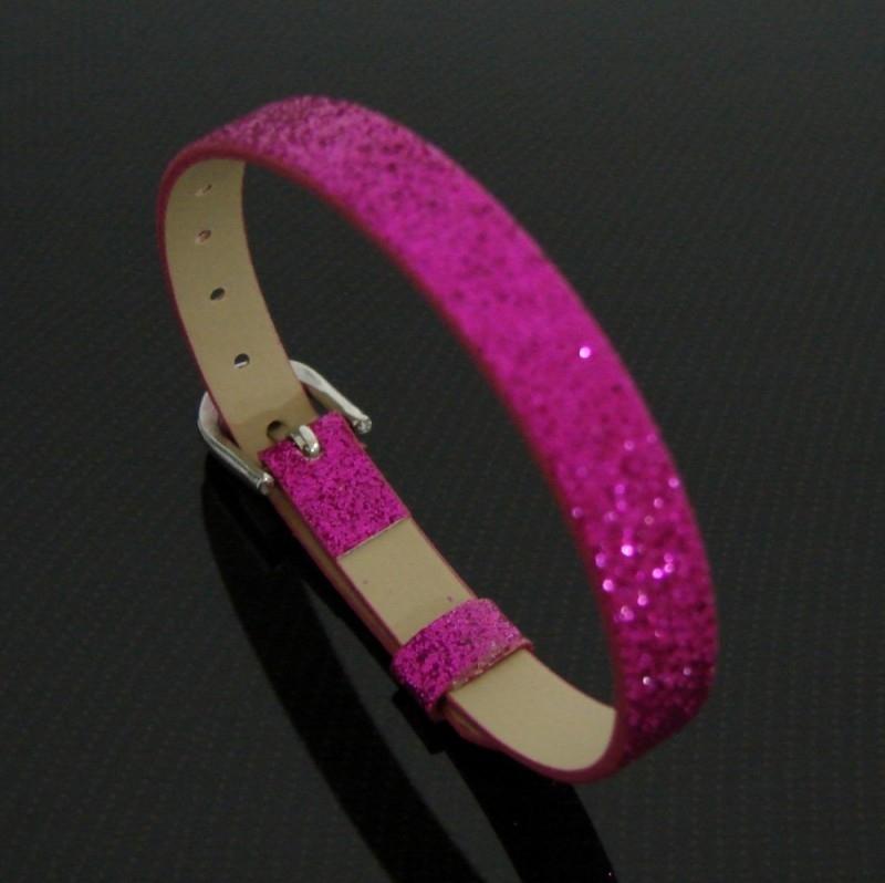 Bracelet 8 mm glitter fucsia | AS18