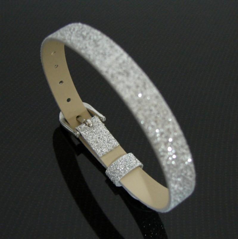 Bracelet 8 mm glitter zilver   AS16
