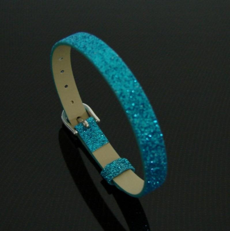 Bracelet 8 mm glitter blauw | AS18