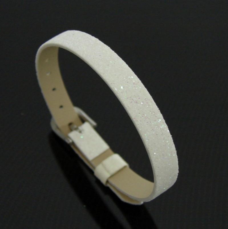 Bracelet 8 mm glitter wit | AS19