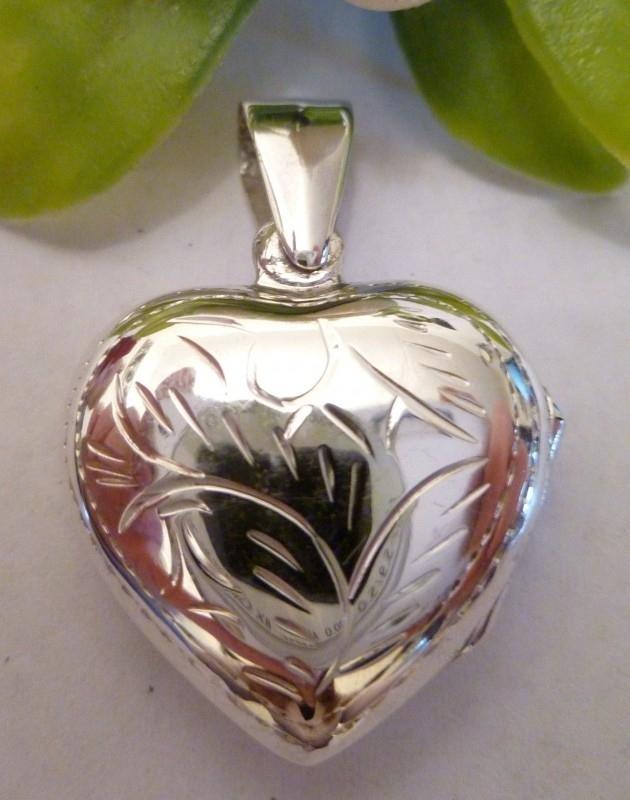 Zilveren medaillon hart 3x3 cm | 2069