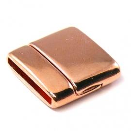 DQ metaal ROSE GOUD magneetslot voor 20mm plat leer, gat 2.5x20mm (B07-003-RG)
