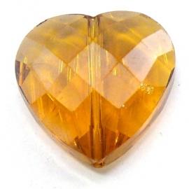 glaskraal geslepen hart topaz 18mm (D06155) - 2 stuks