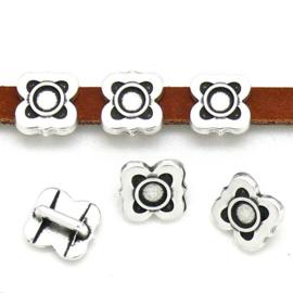 DQ metaal schuifkraal spaans tegel wire motief met setting voor SS16 voor 5mm plat leer - maat 6.4x9.1mm - gat 2,5x5.2mm (B04-195-AS)