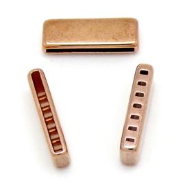 DQ metaal ROSE GOUD eindkap met 7 gaten voor 20mm breed leer maat 22 gat 2x20mm (B06-040-RG)