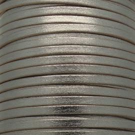 soepele lederen band smal 5mm - dik 2mm - kleur metalic antraciet - 20cm (PL05-037)