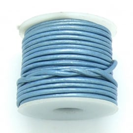 DQ rond leer 1,5mm - 1 meter - kleur metalic ice blue (BRL-01-29)