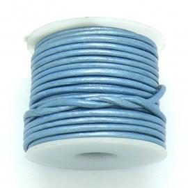 DQ rond leer 1,5mm - 1 meter - kleur metalic ice blue (BRL-01-29)