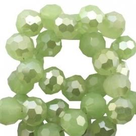 glaskraal facet 6mm rond half opal deep crysolite green half diamond coating (BK19841) - 30 stuks