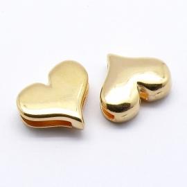 DQ metaal GOUD schuifkraal hart voor 10mm breed leer (B04-003-SG)