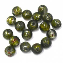 glaskraal rond 10mm silverfoil antractie groen/zwart