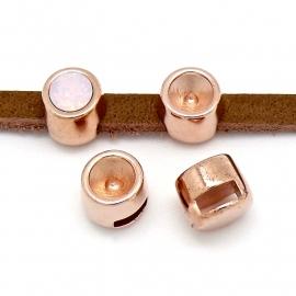 DQ metaal ROSE GOUD schuifkraal SS29 voor 5 of 6mm breed leer (gat 2,5x6mm) (B04-063-RG)