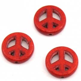 BJ341 keramiek kraal peace 15mm kleur rood