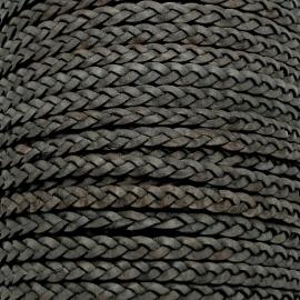 DQ plat gevlochten soft leather 6mm breed kleur vintage dark grey - 20 cm (BPGL-06-04)