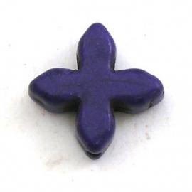 kraal keramiek keltisch kruisje 15mm gat 1mm kleur donkerpaars (BJ800)