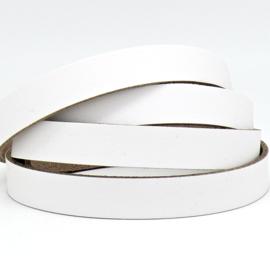 DQ leren band smal 15mm - 2,1 dik circa 100cm lang - kleur trend Wit (PL15-003)