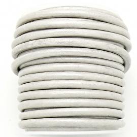 DQ leer 4mm rond  (1 meter) kleur Silver Grey (BRL-04-02)