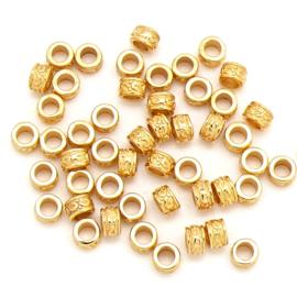 DQ metaal GOUD kraal tonnetje bewerkt 3x5mm - gat 2.7mm (B01-073-SG) - 2 stuks