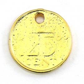 DQ metaal GOUD bedel munt 25 cent 18mm (B02-074-SG)