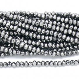 glaskraal rondel facet 3x4mm - circa 148  kralen (BGK-004-007) kleur Metalic Silver