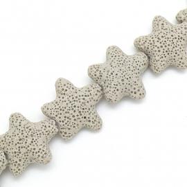 kraal van zandlava grote zeester 25mm kleur creme