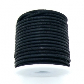 DQ rond leer 3mm - 1 meter - kleur MATT BLACK (no. 03/27)