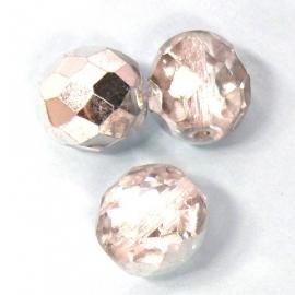 glaskraal rond 10mm facet geslepen grijs/half zilver (BJW026)