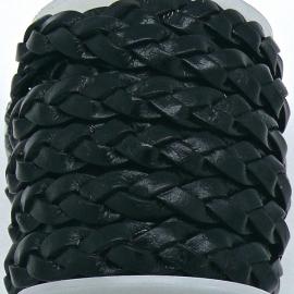DQ platgevlochten leer 10mm breed kleur BLACK - 20 cm (BPGL-10-06)