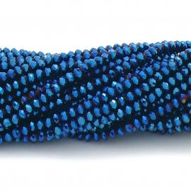 glaskraal rondel facet 3x4mm - circa 148 kralen (BGK-004-043) kleur metalic cobalt blue