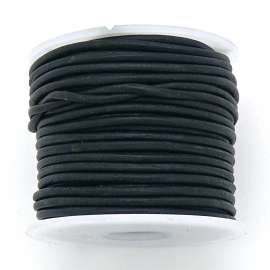 DQ rond leer 1,5mm - kleur Vintage Black - 1 meter (BRL-01-40)