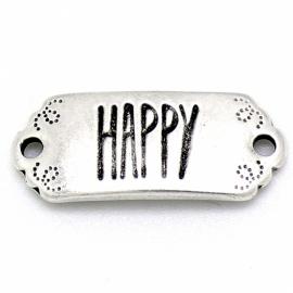 """DQ metaal tussenzetsel met tekst """"HAPPY"""" 12x30mm (B03-040-AS)"""