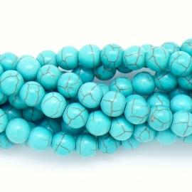 keramiek kraal 8mm turquoise - 20 stuks