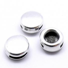 DQ metaal schuifkraal rond voor 10mm breed plat leer (B04-043-AS)