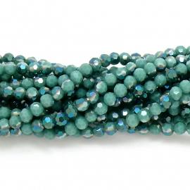 glaskraal rond facet 4mm - circa 98 kralen (BGK-001-018) kleur dark green diamond coating