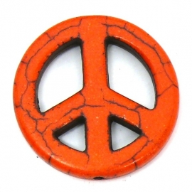 BJ361 keramiek kraal peace oranje 25mm