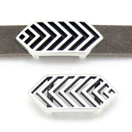 DQ metaal schuifkraal boho geometrie voor 10mm breed leer (gat 2,5x10mm) (B04-130-AS)