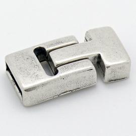 DQ metaal magneetsluiting T-shape maat 17x33mm gat 3x13mm (B07-071-AS)