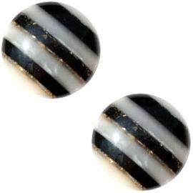 polariscabochon pearl 12mm - kleur stripe zwart/grijs (BK22982)