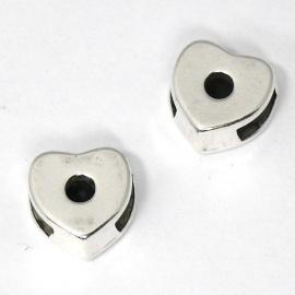 DQ metaal schuifkraal hartje 11mm gat 2,5x6mm (B04-026-AS)