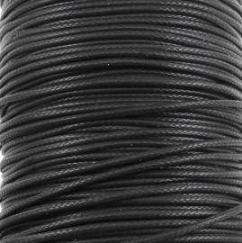 waxkoord 1mm 10 meter kleur zwart