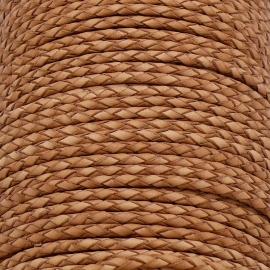 DQ 3mm rondgevlochten soft leather- kleur vintage natural - 20cm (BRGL-3-05)