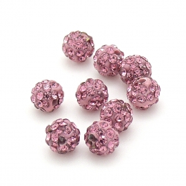 origine shamballa kralen 6mm rond gat 1mm kleur light rose (SH-06-04)
