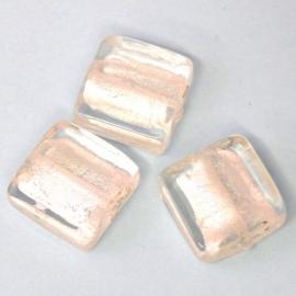 (BJW003)  glaskraal crystal silverfoil plat vierkant 15mm - 2 stuks