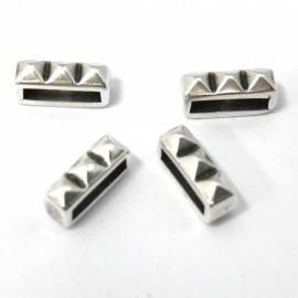 DQ metaal schuifkraal 3 spikes voor 10mm plat leer (B04-023-AS)