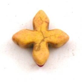 kraal keramiek keltisch kruisje 15mm gat 1mm kleur geel (BJ802)