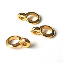 DQ metaal GOUD ring rond met oogje 7x10mm gat 4mm (B05-022-SG)