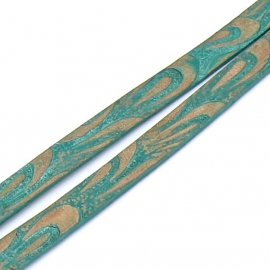 Basic leren band breed 10mm - 2 dik circa 100cm lang - kleur Natural/Mint Embosed (PL10-025)