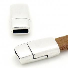DQ metaal magneetsluiting voor 6mm breed leer 17x9mm gat 2x6mm (B07-110-AS)