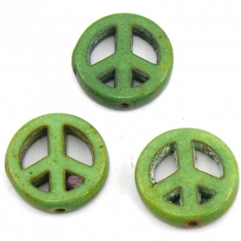 BJ345 keramiek kraal peace 15mm kleur groen